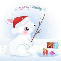 cartão de Natal com adorável coelhinho