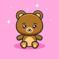 desenho animado de urso sentado fofo vetor