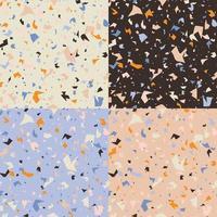 coleção de quatro designs de padrão sem emenda de terrazzo
