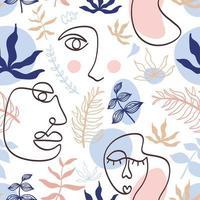 padrão moderno com rosto feminino contínuo de uma linha vetor