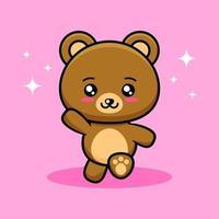 desenho bonito de urso correndo vetor