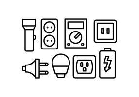 Conjunto de ícones de eletricidade vetor