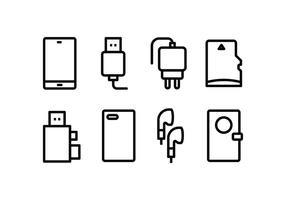 Pacote de ícones para acessórios de telefone vetor