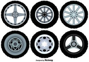Ícones de rodas de liga de vetor