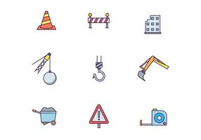 Pacote de ícones de construção de obras
