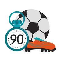 bola de futebol com chuteira e cronômetro vetor