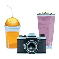 sucos de smoothie e composição da câmera