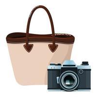 ícones de câmera e bolsa de praia