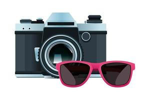 câmera e óculos de sol