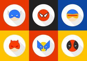 Ícones redondos do vetor de personagens do super-herói