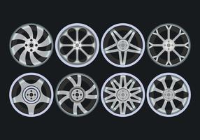 Conjunto de ícones de rodas de liga vetor