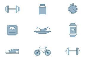 Ícones dos Elementos de Fitness vetor