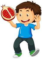 menino feliz segurando romã vetor