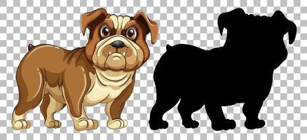 cachorro bulldog e sua silhueta vetor