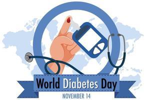 logotipo ou banner do dia mundial do diabetes com sangue no dedo e código automático de glicosura