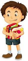 menino segurando mochila escolar vetor