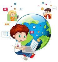 crianças com elementos de mídia social em fundo branco vetor