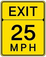 sinal de saída de 25 mph isolado no fundo branco vetor