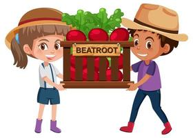 crianças menina e menino com frutas ou vegetais em fundo branco vetor