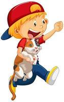 menino feliz com seu gato isolado vetor