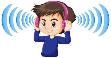 menino usando fones de ouvido com cancelamento de ruído vetor
