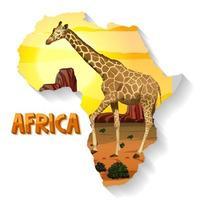 animal africano selvagem no mapa vetor