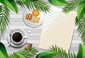 vista superior da mesa de madeira com papel em branco e um elemento de xícara de café e folhas