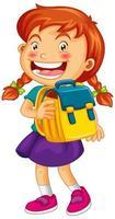 garota feliz segurando mochila escolar vetor