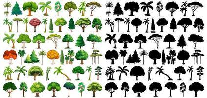 conjunto de planta e árvore com sua silhueta vetor