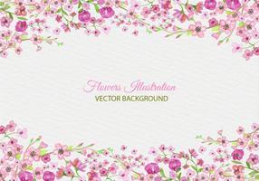 Vector livre pintado de flor rosa fundo