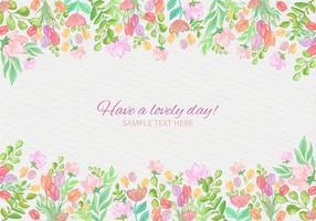 Cartão colorido da aguarela do vetor livre com flores