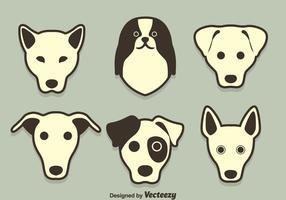 Vetor da coleção da cara da raça do cão