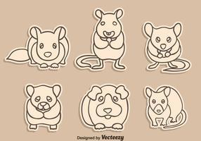 Sketch Gerbil, Mouse e Hamster Vector