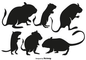 Conjunto de silhuetas de roedores Gerbil de alta qualidade de vetores