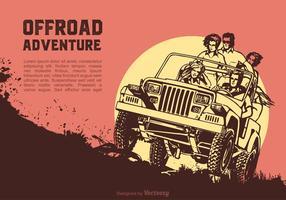 Amigos em uma aventura fora de estrada vetor