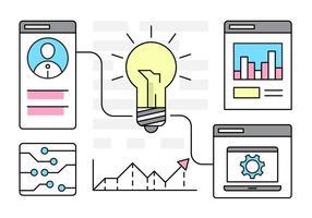 Idéias de negócios infográficos lineares vetor