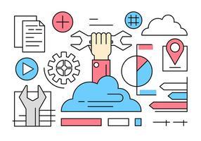 Elementos gratuitos do vetor do Cloud Service