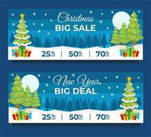 modelos de banner de venda de ano novo com cena de inverno
