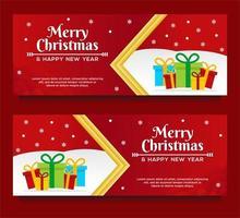 modelos de banner de feliz natal e feliz ano novo vetor