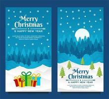 modelo de banner de feliz natal e feliz ano novo com árvore de natal e fundo azul vetor