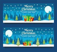 modelos de banner de natal e ano novo com cena de inverno