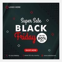 preto, branco, vermelho preto modelo de mídia social venda sexta-feira