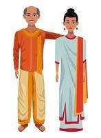 personagens de desenhos animados de casal indiano