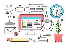 Ilustração vetorial gratuita com objetos e elementos de mesa de escritório vetor