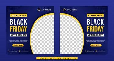 modelos de banner de mídia social azul gradiente preto venda sexta-feira vetor