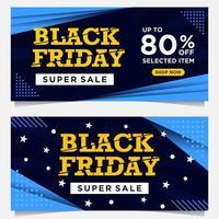 banners pretos do evento de sexta-feira em azul, branco e amarelo