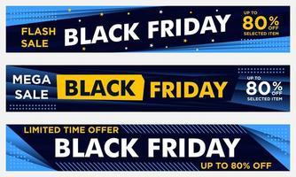 banners pretos de eventos horizontais de sexta-feira em amarelo e azul vetor