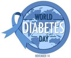 banner do dia mundial da diabetes com fita azul e globo vetor