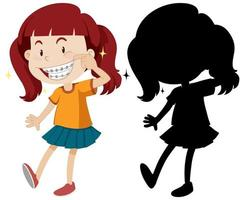 menina usando aparelho dentário com silhueta vetor