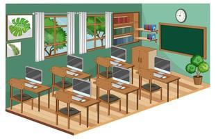 interior da sala de aula com móveis na cor verde